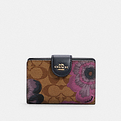 COACH C3452 Medium Corner Zip Wallet In Signature Canvas With Kaffe Fassett Print IM/KHAKI PURPLE MULTI