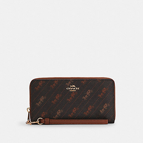 COACH C3547 LONG ZIP AROUND WALLET WITH HORSE AND CARRIAGE DOT PRINT IM/BLACK