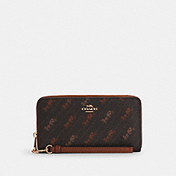 COACH C3547 - LONG ZIP AROUND WALLET WITH HORSE AND CARRIAGE DOT PRINT IM/BLACK