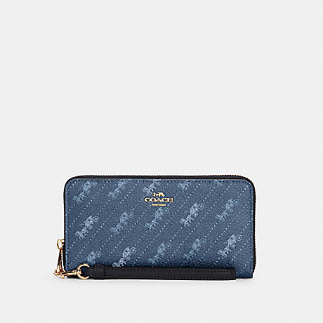 COACH C3547 LONG ZIP AROUND WALLET WITH HORSE AND CARRIAGE DOT PRINT IM/DENIM