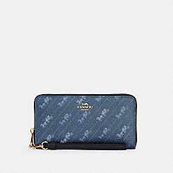 COACH C3547 - LONG ZIP AROUND WALLET WITH HORSE AND CARRIAGE DOT PRINT IM/DENIM