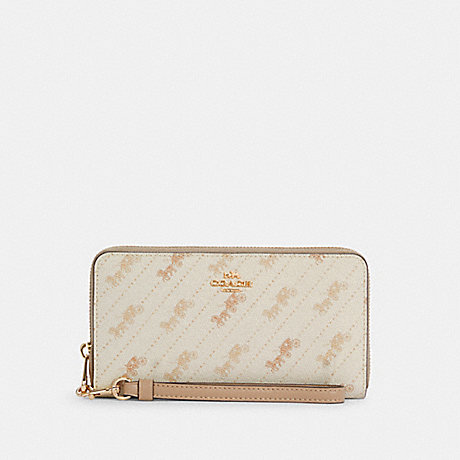 COACH C3547 LONG ZIP AROUND WALLET WITH HORSE AND CARRIAGE DOT PRINT IM/CREAM