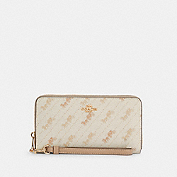 COACH C3547 - LONG ZIP AROUND WALLET WITH HORSE AND CARRIAGE DOT PRINT IM/CREAM