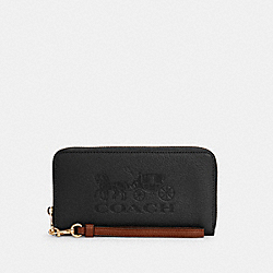 COACH C3548 - LONG ZIP AROUND WALLET WITH HORSE AND CARRIAGE IM/BLACK/REDWOOD