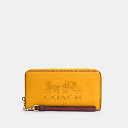 LONG ZIP AROUND WALLET WITH HORSE AND CARRIAGE - C3548 - IM/OCHRE/VINTAGE MAUVE