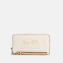 COACH C3548 - LONG ZIP AROUND WALLET WITH HORSE AND CARRIAGE IM/CHALK/VANILLA CREAM