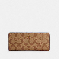 COACH C3549 - SLIM WALLET IN SIGNATURE CANVAS IM/KHAKI/BLACK