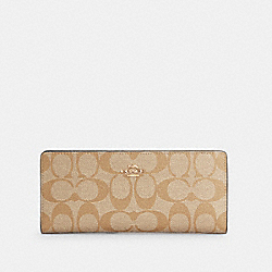 COACH C3549 - SLIM WALLET IN SIGNATURE CANVAS IM/LIGHT KHAKI CHALK