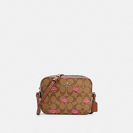 COACH MINI CAMERA BAG IN SIGNATURE CANVAS WITH LIPS PRINT - IM/KHAKI REDWOOD - C3569
