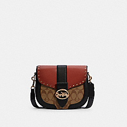 GEORGIE SADDLE BAG IN COLORBLOCK SIGNATURE CANVAS WITH RIVETS - C3593 - IM/KHAKI/TERRACOTTA MULTI