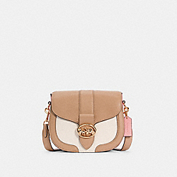 GEORGIE SADDLE BAG IN COLORBLOCK - IM/TAUPE MULTI - COACH C3596