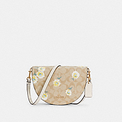 ELLEN CROSSBODY IN SIGNATURE CANVAS WITH DAISY PRINT - C3597 - IM/LIGHT KHAKI CHALK MULTI