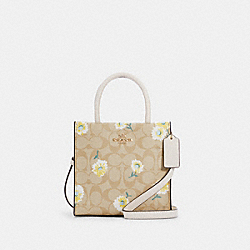 MINI CALLY CROSSBODY IN SIGNATURE CANVAS WITH DAISY PRINT - C3599 - IM/LIGHT KHAKI CHALK MULTI