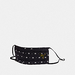 COACH C3601 Rexy Face Mask With Star Dot Print BLACK/WHITE