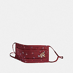 COACH C3602 Uni Face Mask With Mini Vintage Rose Print BURGUNDY