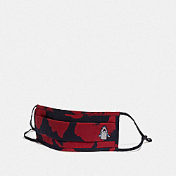COACH C3603 Sharky Face Mask With Wild Flower Camo Print NAVY/RED
