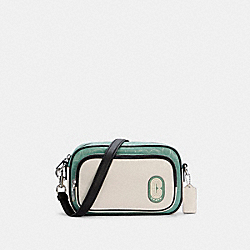 COURT CROSSBODY IN COLORBLOCK SIGNATURE NYLON - SV/WASHED GREEN MULTI - COACH C3654