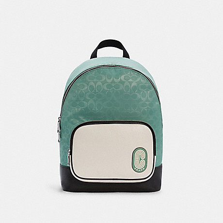 COACH C3655 COURT BACKPACK IN COLORBLOCK SIGNATURE NYLON SV/WASHED GREEN MULTI
