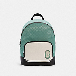 COURT BACKPACK IN COLORBLOCK SIGNATURE NYLON - SV/WASHED GREEN MULTI - COACH C3655