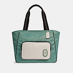 COURT TOTE IN COLORBLOCK SIGNATURE NYLON - SV/WASHED GREEN MULTI - COACH C3656