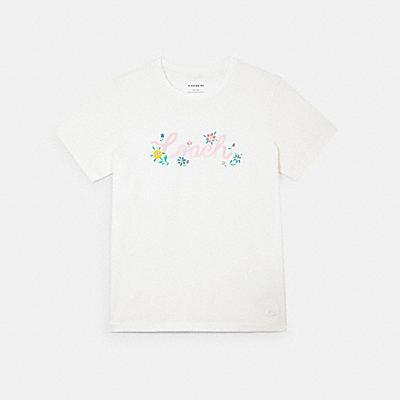 ペインテッド フローラル プリント Tシャツ