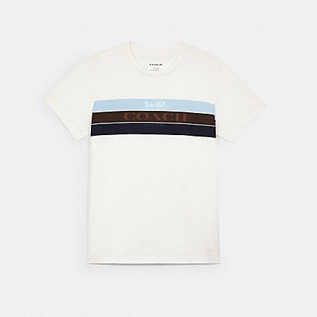 COACH C3665 RACING STRIPE HORSE AND CARRIAGE T-SHIRT WHITE