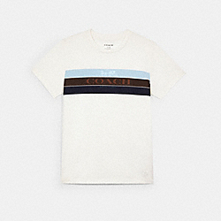 COACH C3665 - RACING STRIPE HORSE AND CARRIAGE T-SHIRT WHITE