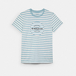 COACH C3667 - ALL OVER STRIPE T-SHIRT CONCRETE WHITE/STERLING BLUE