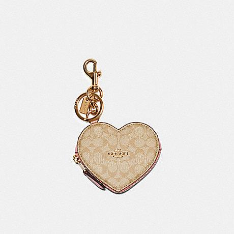 COACH C3682 HEART POUCH BAG CHARM IN SIGNATURE CANVAS IM/LIGHT KHAKI