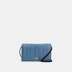 ANNA FOLDOVER CROSSBODY CLUTCH WITH QUILTING - C3713 - IM/DENIM MULTI