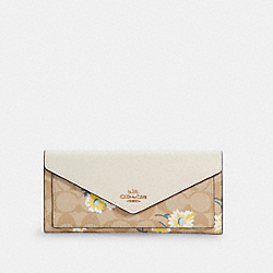 COACH C3721 - SLIM ENVELOPE WALLET IN SIGNATURE CANVAS WITH DAISY PRINT IM/LIGHT KHAKI CHALK MULTI