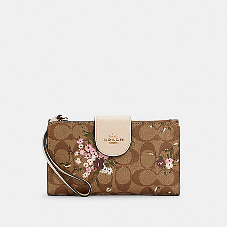 COACH C3722 TECH PHONE WALLET IN SIGNATURE CANVAS WITH EVERGREEN FLORAL PRINT IM/KHAKI MULTI