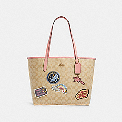 DISNEY X COACH CITY TOTE IN SIGNATURE CANVAS WITH PATCHES - C3724 - IM/LIGHT KHAKI MULTI