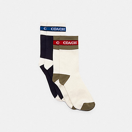 COACH C3913 COLORBLOCK SOCKS PACK NAVY-AND-WHITE