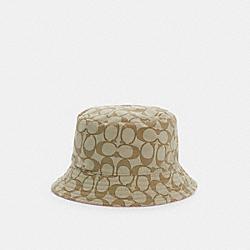 SIGNATURE BUCKET HAT - KHAKI/PINK - COACH C3999