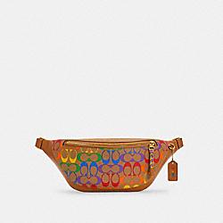WARREN BELT BAG IN RAINBOW SIGNATURE CANVAS - QB/KHAKI MULTI - COACH C4006