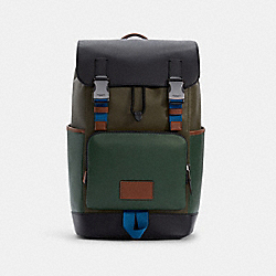 TRACK BACKPACK IN COLORBLOCK - QB/DARK CLOVER MULTI - COACH C4019