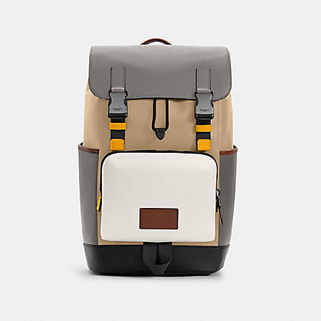 COACH C4019 TRACK BACKPACK IN COLORBLOCK QB/CHALK LIGHT GRAVEL