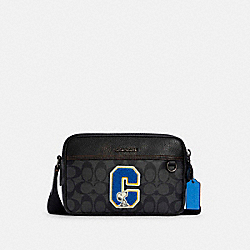 COACH X PEANUTS GRAHAM CROSSBODY IN SIGNATURE CANVAS WITH SNOOPY - C4027 - QB/CHARCOAL MULTI