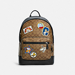 COACH X PEANUTS WEST BACKPACK IN SIGNATURE CANVAS WITH VARSITY PATCHES - C4030 - QB/KHAKI MULTI