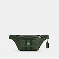 HERITAGE BELT BAG WITH STRIPE - V5/DARK CLOVER - COACH C4033