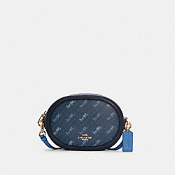 CAMERA BAG WITH HORSE AND CARRIAGE DOT PRINT - C4057 - IM/DENIM