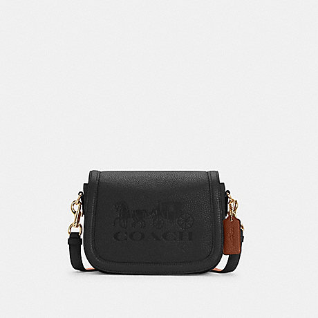 COACH C4058 SADDLE BAG WITH HORSE AND CARRIAGE IM/BLACK/REDWOOD