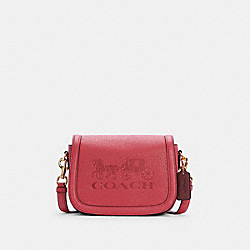 COACH C4058 - SADDLE BAG WITH HORSE AND CARRIAGE IM/POPPY/VINTAGE MAUVE