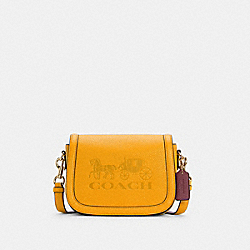 COACH C4058 - SADDLE BAG WITH HORSE AND CARRIAGE IM/OCHRE/VINTAGE MAUVE