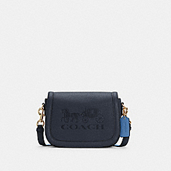 SADDLE BAG WITH HORSE AND CARRIAGE - C4058 - IM/MIDNIGHT/SKY BLUE