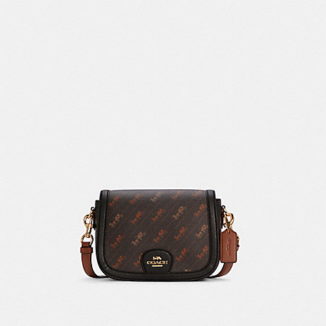 COACH C4059 SADDLE BAG WITH HORSE AND CARRIAGE DOT PRINT IM/BLACK