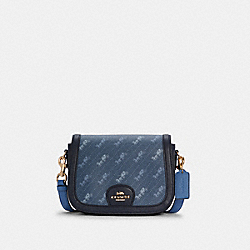 SADDLE BAG WITH HORSE AND CARRIAGE DOT PRINT - C4059 - IM/DENIM