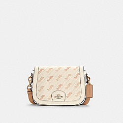 SADDLE BAG WITH HORSE AND CARRIAGE DOT PRINT - C4059 - IM/CREAM