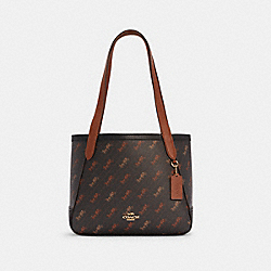 COACH C4060 - HORSE AND CARRIAGE TOTE 27 WITH HORSE AND CARRIAGE DOT PRINT IM/BLACK